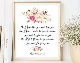 The Lord Bless You and Keep You, Numbers 6:24-26, Bible verse art, Wall decor, Christian art print BD-520, Scripture art print, Bible verse