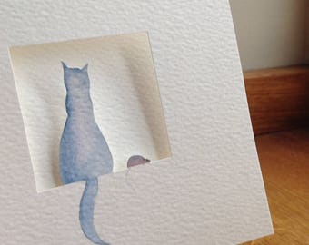 The Cat and The Mouse. Watercolour