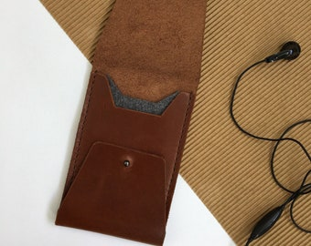 Leather Phone Case for iPhone, fits iPhone 6, iPhone 6S, brown, tan