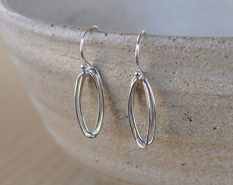 Small Simple Sterling Silver Wire Oval Linear Earrings
