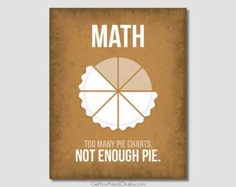 Math Nerd Poster - Pie Charts - Available as 8x10, 11x14 or 16x20