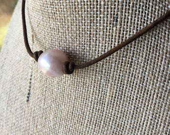 leather pink pearl necklace