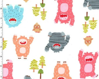Flannel - Bigfoot Boogie Pink from Michael Miller Fabric's Bigfoot Boogie Flannel Collection