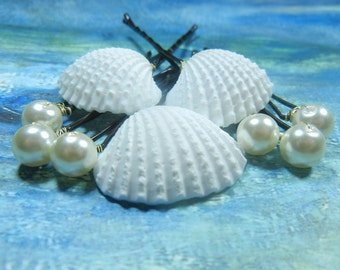 Wedding Arks and Pearls Seashell Bobby Pins