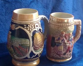 Miniature Beer Steins, Tankards, Wekera, Majolica,Heidelberg, German Steins, Barware, Collectibles, Brewinalia, Gift Idea