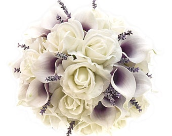Stemple's Gatherings - A grouping of White Real Touch Roses, Picasso Calla Lilies & Lavender - Perfect for a vase or as a wedding bouquet