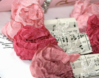 Seam Binding Ribbon -  POSIES -  Pinks -  18 YARDS -  Dark Pink -   Dusky Pink - Crinkled Ribbon Rayon Ribbon - Vintage Style , BluebirdLane