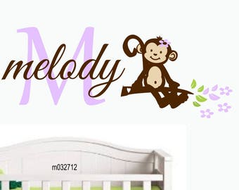 nursry wall decal Monkey Name Wall Decal -  Jungle Nursery Decor - Girls  Nursery Decor - Vinyl Wall Decal gift for baby