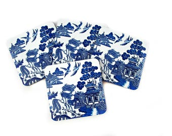 Blue Willow Coaster Set - Vintage Style Drink Coasters - Blue and White Coasters - Cottage Decor - Gift for Mom or Grandma