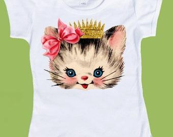 Girls Gold INK Crown,toddler kitten shirt. Princess Kitten, Girls Birthday Tshirt,Baby Girls TShirt,One Piece Baby, by ChiTownBoutique.etsy