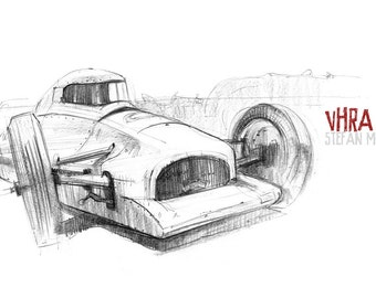 Streamliner - Original A3 Pencil Sketch