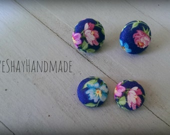 Blue Retro Floral Fabric Button Earrings