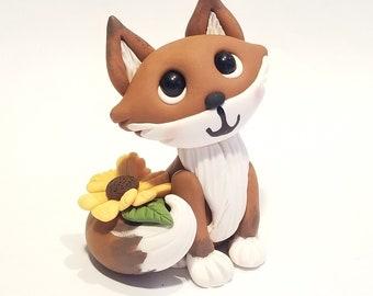 MADE TO ORDER polymer clay sunflower fox figurine