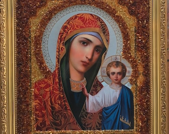 The Icon Holly Mother Of God Made Of 100% Natural Baltic Amber