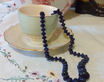Blue Glass  Beaded Vintage 50s Necklace