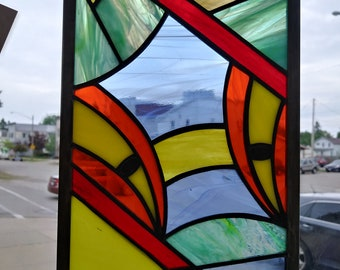 Abstract Stained Glass Panel in Picasso Style