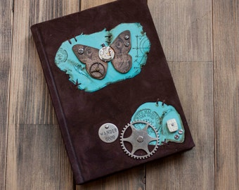 Steampunk leather journal Butterfly leather journal  Steampunk notebook  Butterfly book Handmade leather journal Blank book Leather notebook
