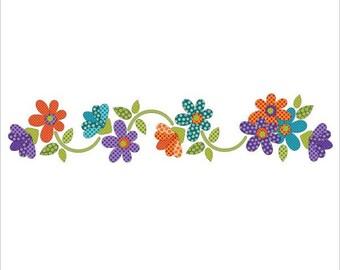 Laser Cut Premium Quilters Applique, URBAN ELEMENTZ, multi-color daisy dotz, 10 bright colored daisies