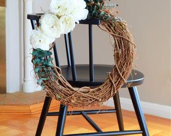 Peony Grapevine Wreath   Summer Wreath   Front Door Wreaths   Peony Wreath   Summer Wreaths for Front Door   Silk Wreath   Housewarming Gift
