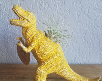 Toy T-Rex Dinosaur Planter. Upcycled, Repurpose. Charming Gift for Family & Friends