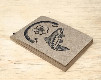 """Papier recyclé cahier 3 """"x 4,25"""" 50 Pages blanches fleur saumon arc en ciel timbre"""