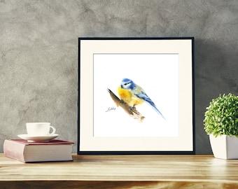 Titmouse Bird Original Watercolor Painting, Bird Painting, Bird Art, blue and yellow modern bird painting