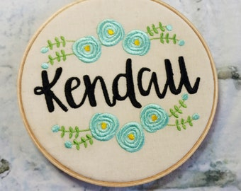 Personalized Name with Rose embroidery / 6 inch hoop embroidery art