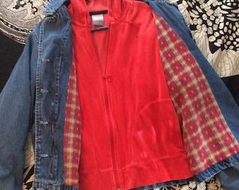 Americana Denim Jacket with Red Velour Nike Hoodie