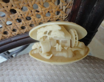 Vintage faux carved clam shell diorama Netsuke-style 3 D water scene and drgon on top of shell