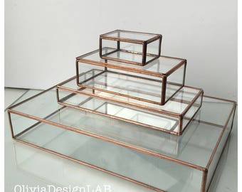 Glass box display, MEDIUM size glass box, jewelry display case, glass display home decor, jewelry ring storage trays and jewelry box.
