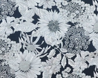 Liberty fabric Tana Lawn Angelica Garla X  9''x26'' Fat Eighth - Classic Collection - dark navy