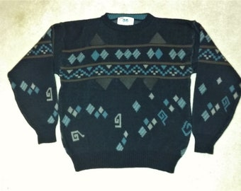 Vintage Geometric Leather Panel Cosby Sweater XL