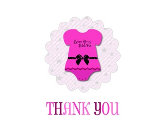 Onsie Thank You Cards with poem and baby name (DIGITAL FILE)
