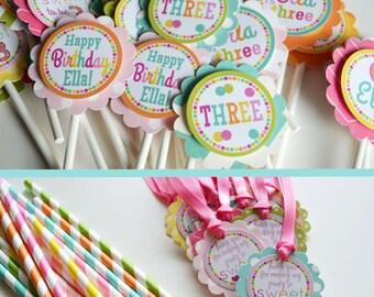 Sweet Shop Birthday Party Decorations Pink Yellow Aqua Orange Fully Assembled