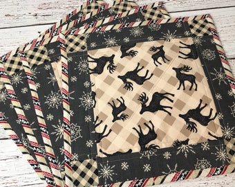 Square Placemats, Placemats, Buffalo Plaid, Deer Print, Log Cabin, Woodland, Dining, Gifts For The Home,  Plaid Placemats, Rustic Holiday