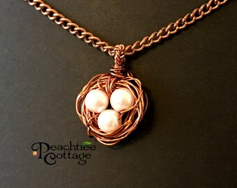 Wire Wrapped Pendant - Wire Bird Nest Pendant - Bird Nest Pearl Pendant - Wire Pendant - Copper Bird Nest - Made To Order