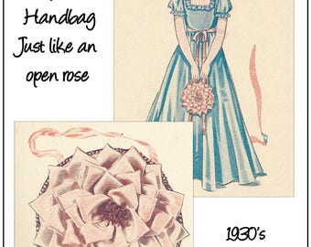 1930's Pretty  Flower Bag Vintage Pattern and Instructions - PDF Pattern - Instant Download