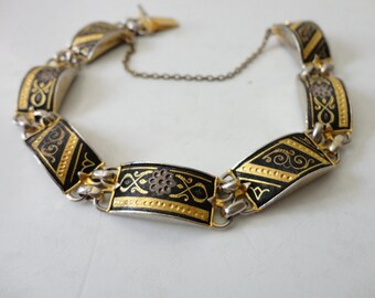VINTAGE gold and black FLORAL link BRACELET