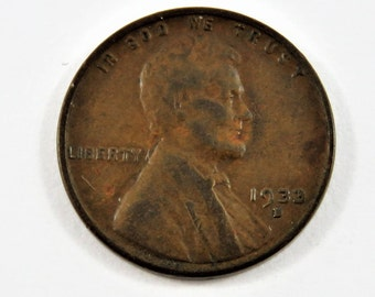 U.S. 1933 D Lincoln One Cent Coin.