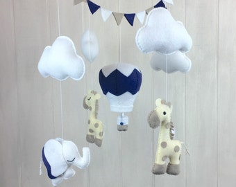 Baby mobile - elephant and giraffe mobile - elephant mobile - giraffe mobile - nursery decor - nursery mobile - hot air balloon mobile