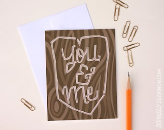 Cute Valentine, You and Me, Nature Valentine, Anniversary Card, I love you card, Tree Carving Card, Love Card, A2 Greeting Card