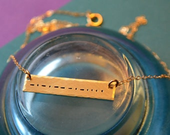 Silver or Gold Morse Code Necklace - Secret Message Necklace