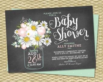 Gender Neutral Chalkboard Baby Shower Invitation Daisy Mason Jar Blush Pink Mint Green ANY EVENT