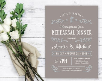 Printable Rehearsal Dinner Invitation \ Rustic Invitation \ Warm Grey and Dove Blue \ Custom Colours Available (RD96)