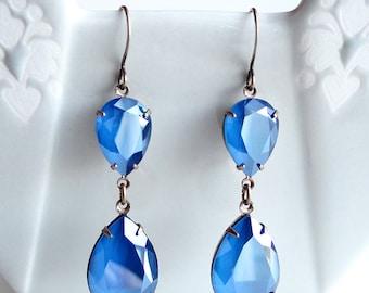 Swarovski Crystal Royal Blue Rhinestone Earrings Teardrop Pear Old Hollywood