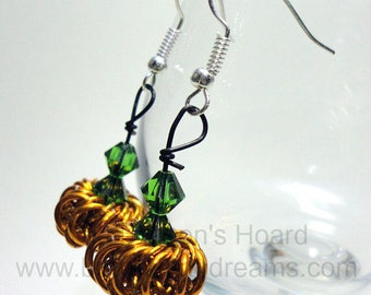 MADE TO ORDER - Chainmaille Pumpkin Earrings