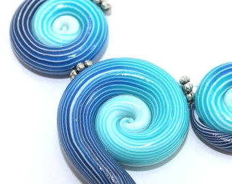 Polymer Clay beads with unique stripes, elegant big gradient spiral beads in turquoise, blue and white, set of 3