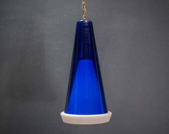Scandinavian Blue Glass Pendant Fixture