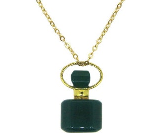 Gemstone Aromatherapy Essential Oil Diffuser Necklace-Perfume Bottle Necklace-Square Green Agate Necklace-May Birthstone Necklace-KMN115-GAT