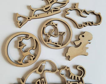 Set of 6 Wooden Cat and Dog Cut Outs ( Embellishments, Scrap Booking, Collages , DIY Crafts )